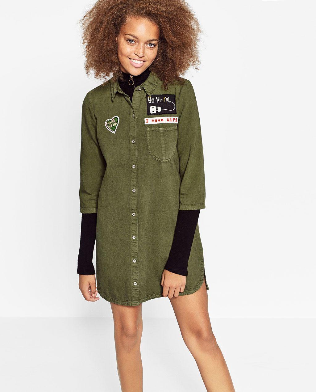 Image 2 of PATCH SHIRT DRESS from Zara | Shirt dress, Half