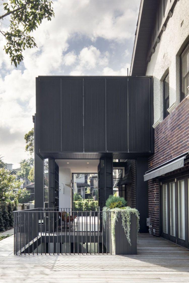 Schwarzer Stahl schwarzer stahl veranda backsteinhaus nebenanlage dreams house