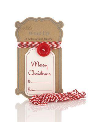 Ornements décoratifs pour cadeau en forme de gros bouton avec étiquettes cadeau