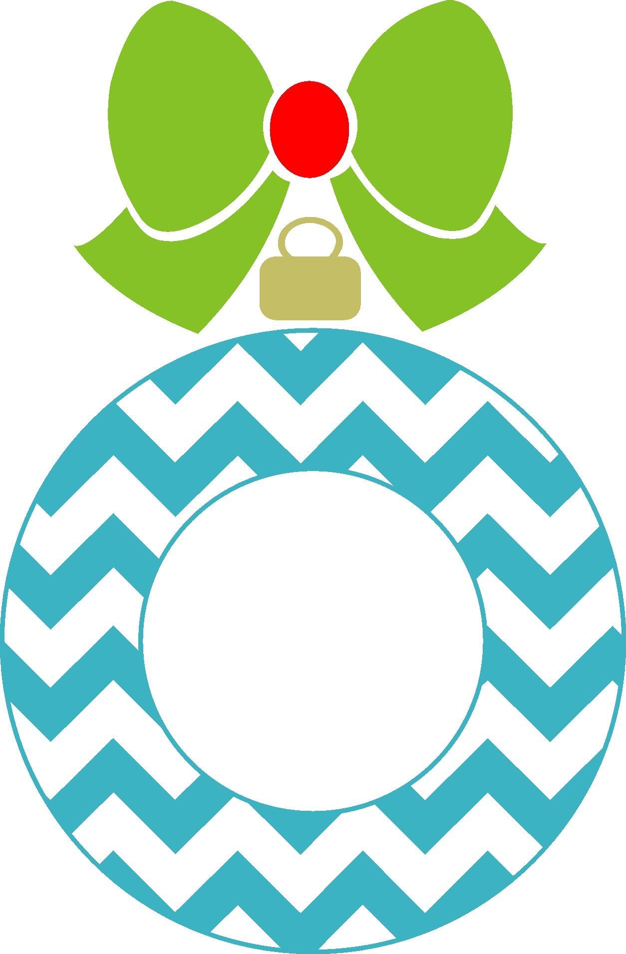 Chevron Christmas Ornament Monogram Frame Silhouette