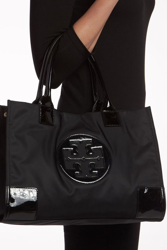 0e59b4d6df69 Nylon Ella Tote in black -Tory Burch