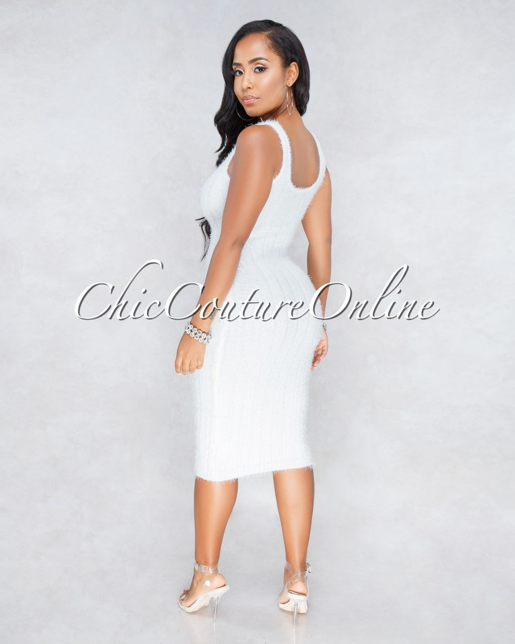 17f606b5645 Chic Couture Online - Adeline Off-White Ribbed Fuzzy Midi Dress
