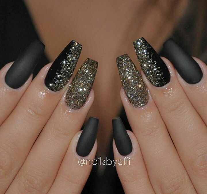 Pin by annette glover on nail art pinterest black nails glitter and matte nails prinsesfo Choice Image