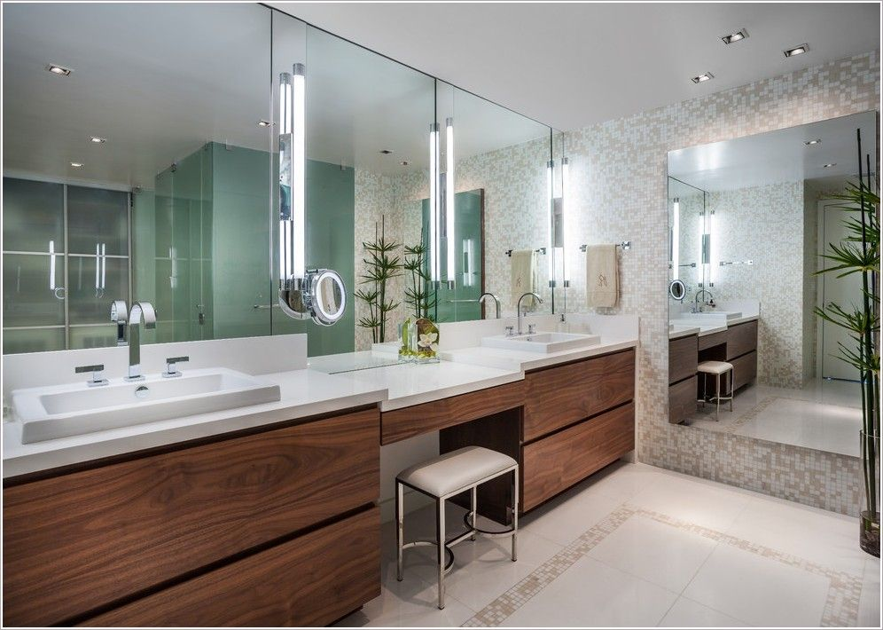 Bathroom contemporary miami bisazza custom made mosaic for Two sink bathroom ideas