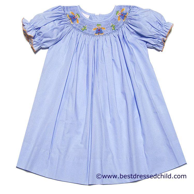 b34ef6f39f6c Petit Bebe by Anavini Infant /. Toddler Girls Blue Smocked Scarecrows  Bishop Dress