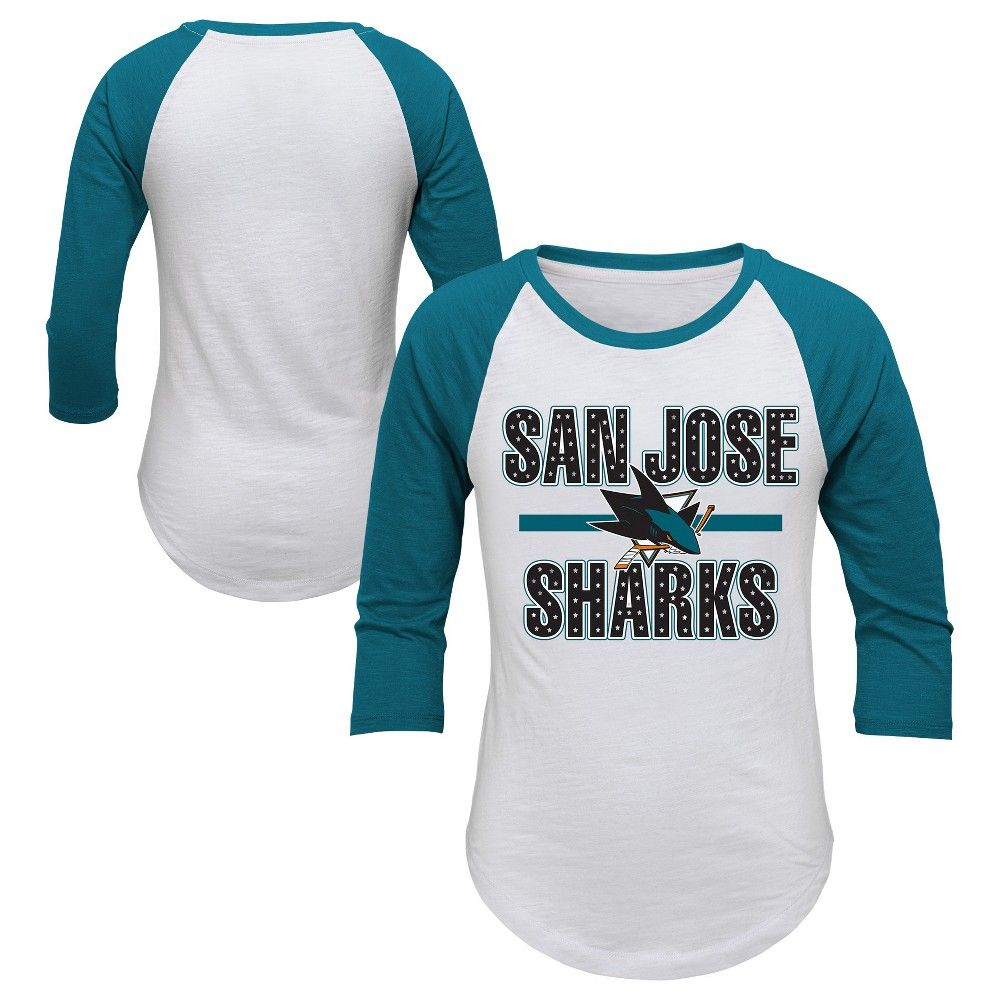 5ec2e72872e Cheer on the San Jose Sharks in style with this official NHL Girls 3 4  sleeve top. This sports apparel top makes your allegiance unmistakable with  large ...