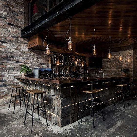 Nice 50 Elegant Industrial Style Home Bar Ideas