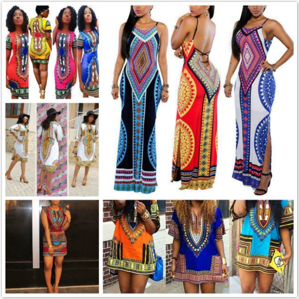 762dd4fd8212 Summer Womens African Printed Bodycon Dress Cocktail Party Shift Dresses  S-XL. Retro Women Dress Sleeveless Traditional African Print V-Neck  One-piece ...