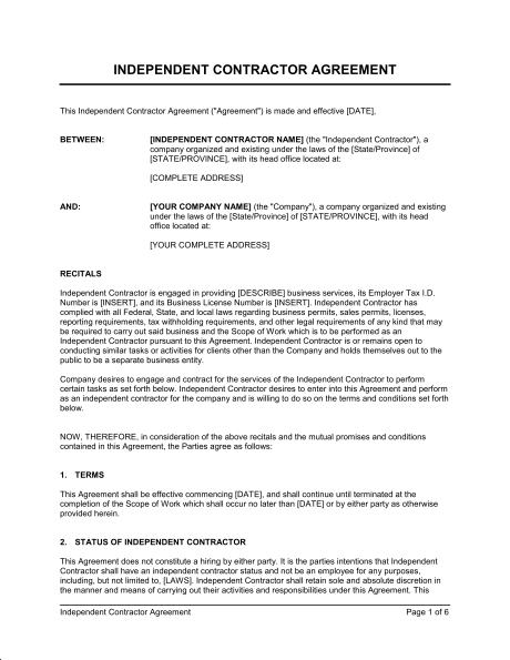 Independent Contractor Agreement Template Sample Form - Company contract sample