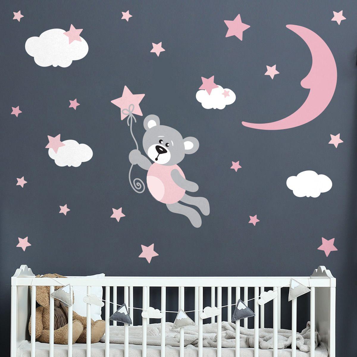 Stickers ourson volant dans les étoiles en 19  Deco chambre