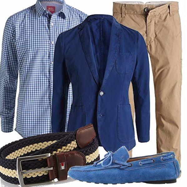 Un outfit smart casual completo, giocato sul blu e beige, abbinamento  vincente, sempre