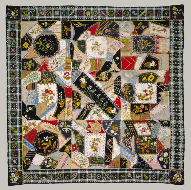 Memorial Crazy quilt, ca. 1877 Made by Tamar Horton Harris North ... : crazy quilt blogs - Adamdwight.com