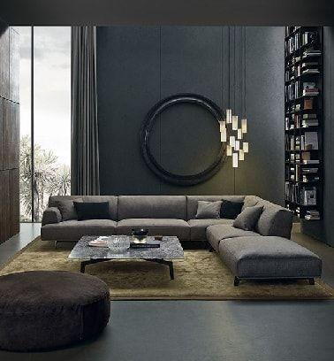Un salon contemporain avec peinture couleur gris - Couleur peinture avec carrelage gris ...