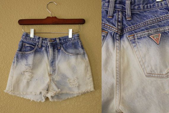 Shredded Bleached Guess Denim Shorts #cuttoffs