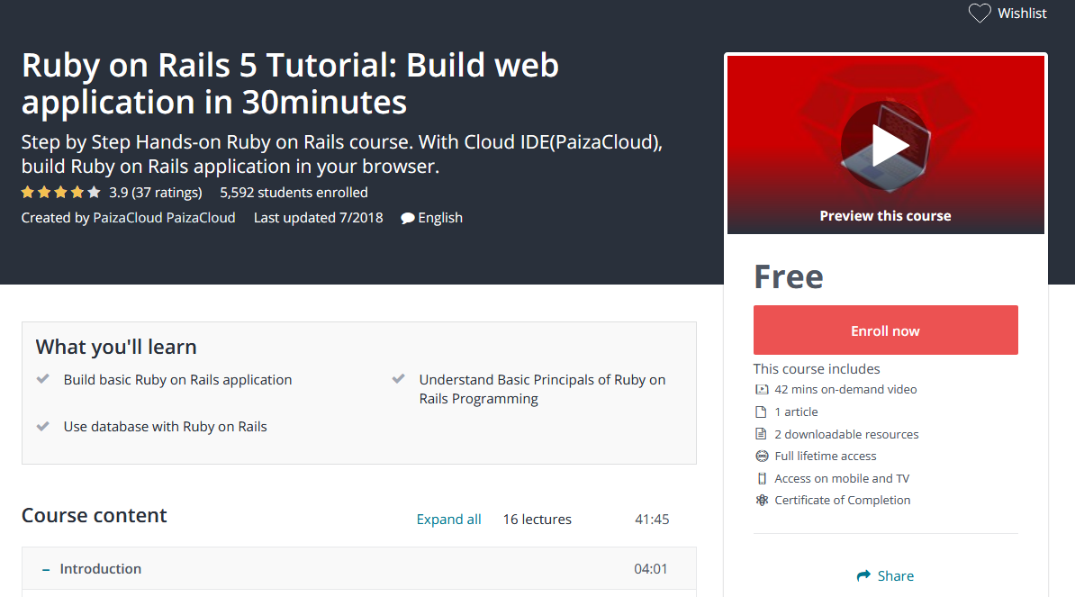 Step by Step Hands-on Ruby on Rails course  With Cloud IDE