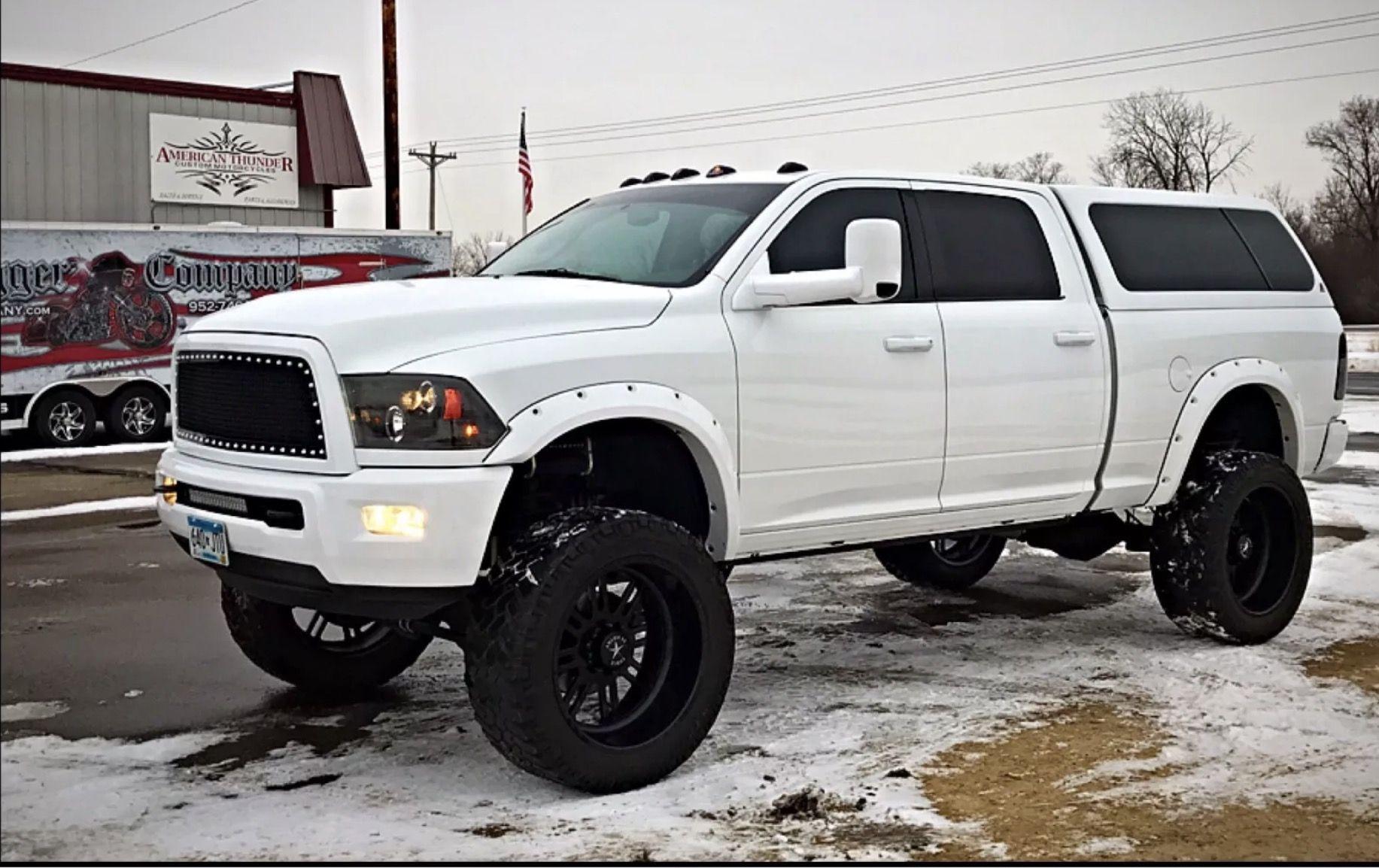 Lifted White Dodge Ram 2500 Mins Sel Trucks