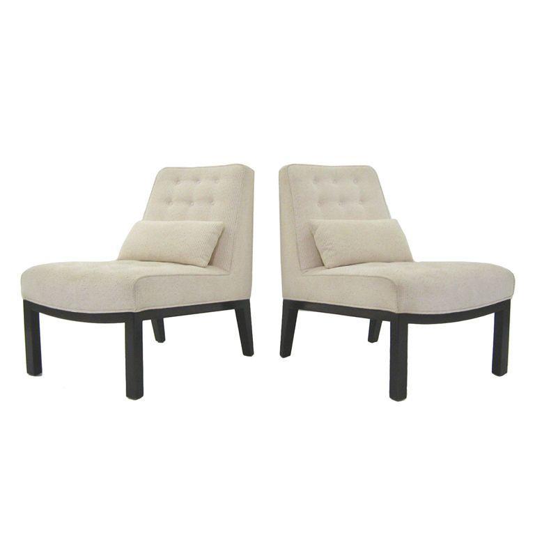 Awe Inspiring Edward Wormley Pair Of Slipper Chairs By Dunbar Great Theyellowbook Wood Chair Design Ideas Theyellowbookinfo