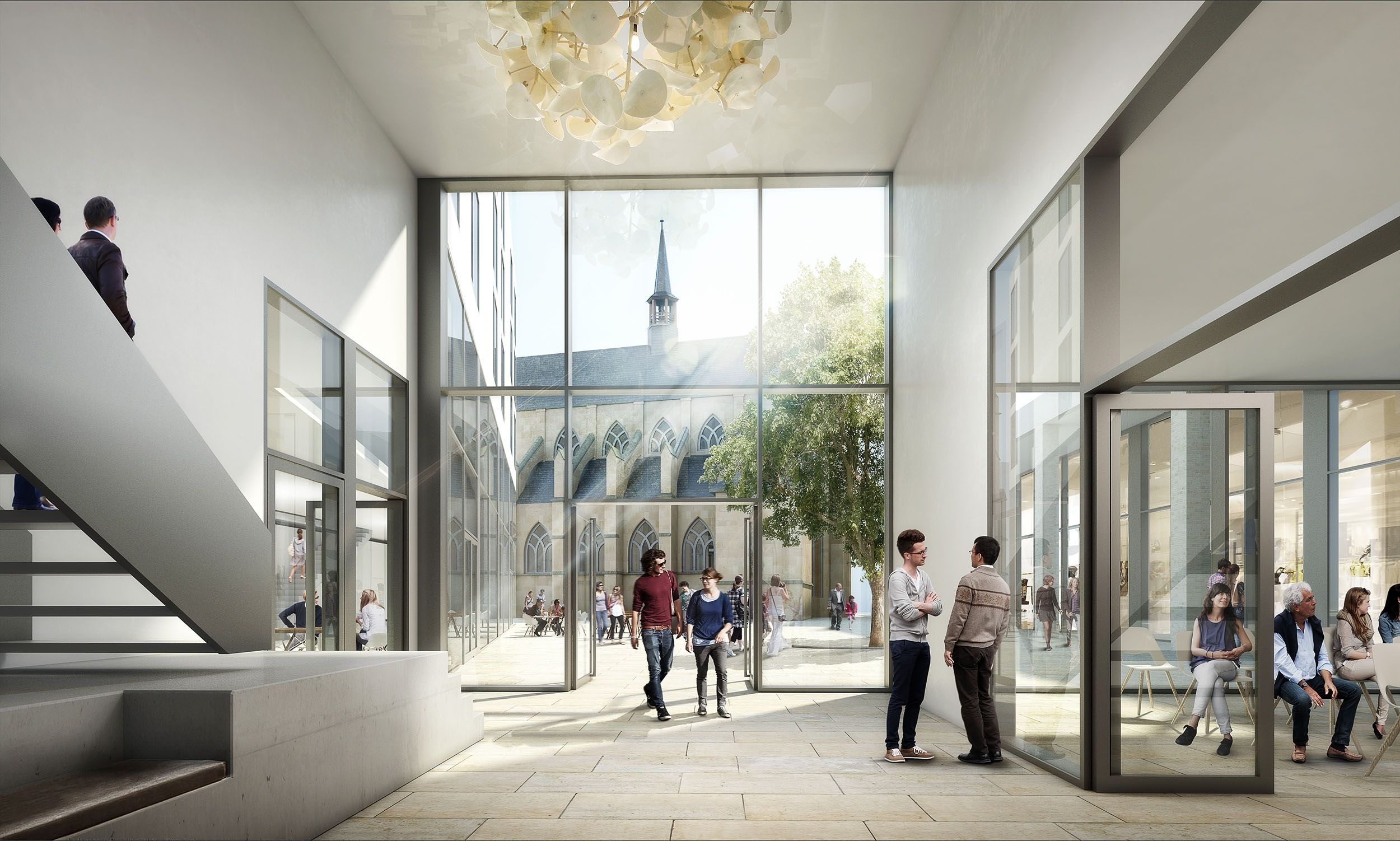 Architektur Rendering Photoshop 3 Preis Foyer Citykirchenzentrum Moka Studio Eins Eins