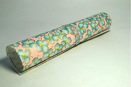 JaponskaZahrada / Handmade origami papier Modré kvietky na ružovej
