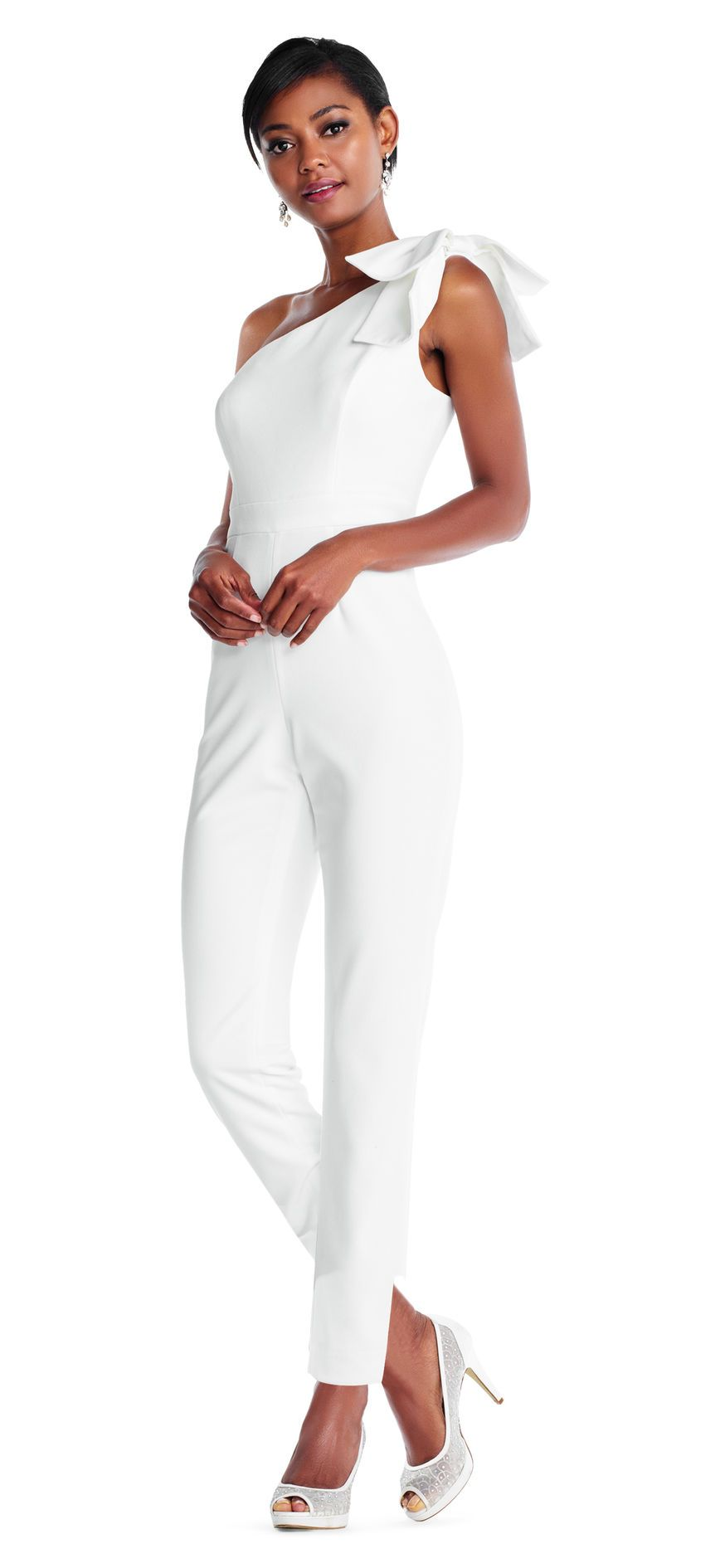 610fa4b52e8f One Shoulder Crepe Jumpsuit with Bow Accent in 2019