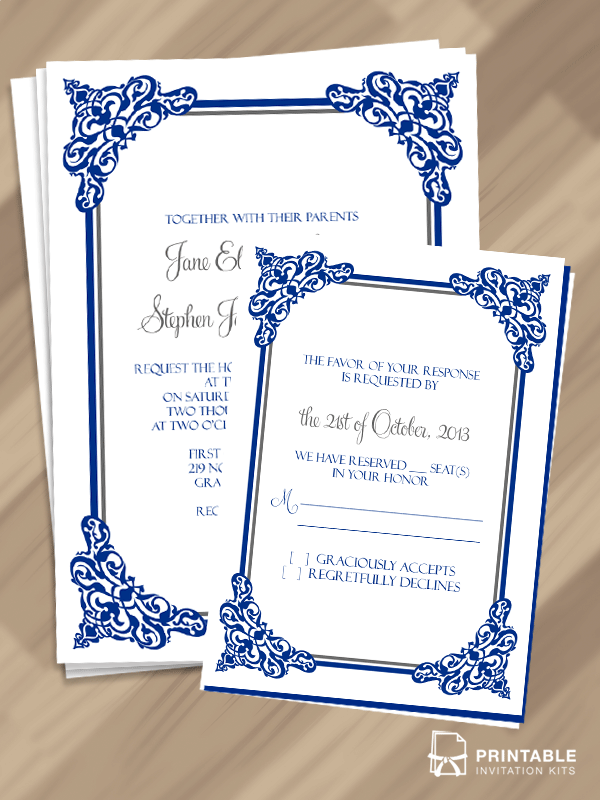FREE PDF Templates Intricate Border Invitation And RSVP
