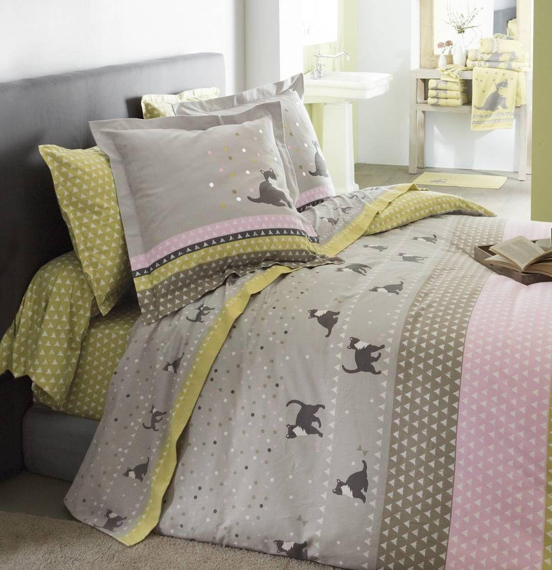 linge de lit entre chats par fran oise saget textil bed linge de lit pinterest parure de. Black Bedroom Furniture Sets. Home Design Ideas