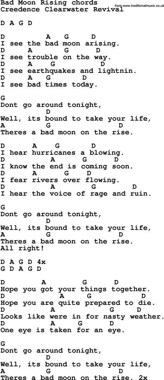 Song Lyrics With Guitar Chords For Bad Moon Rising Sheet Music