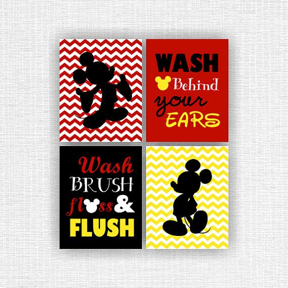 Mickey Mouse bathroom Wall Art, Wash brush floss and flush, Set of 4,