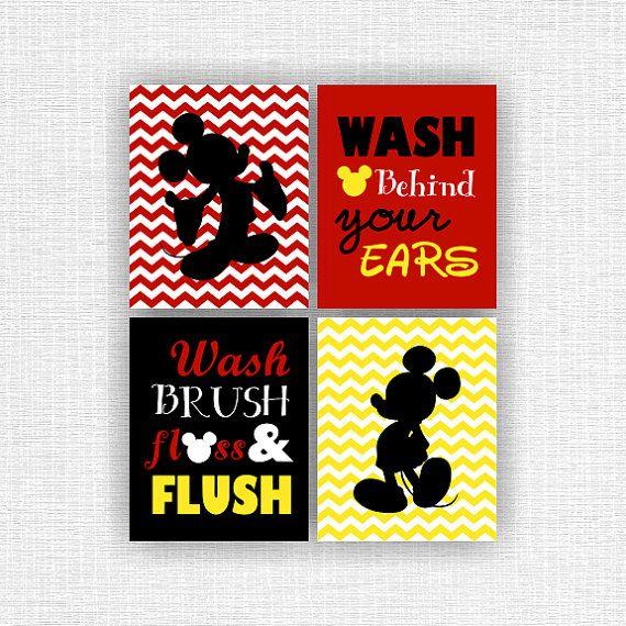 mickey mouse bathroom wall art, wash brush floss flush, wash
