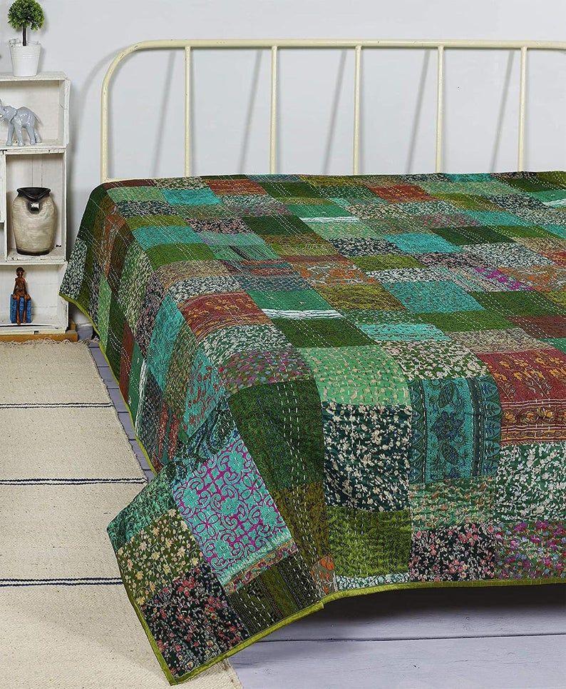 Patola Silk Quit Kantha Quilt Silk Patch Work Handmade Bedspreads Boho Blanket
