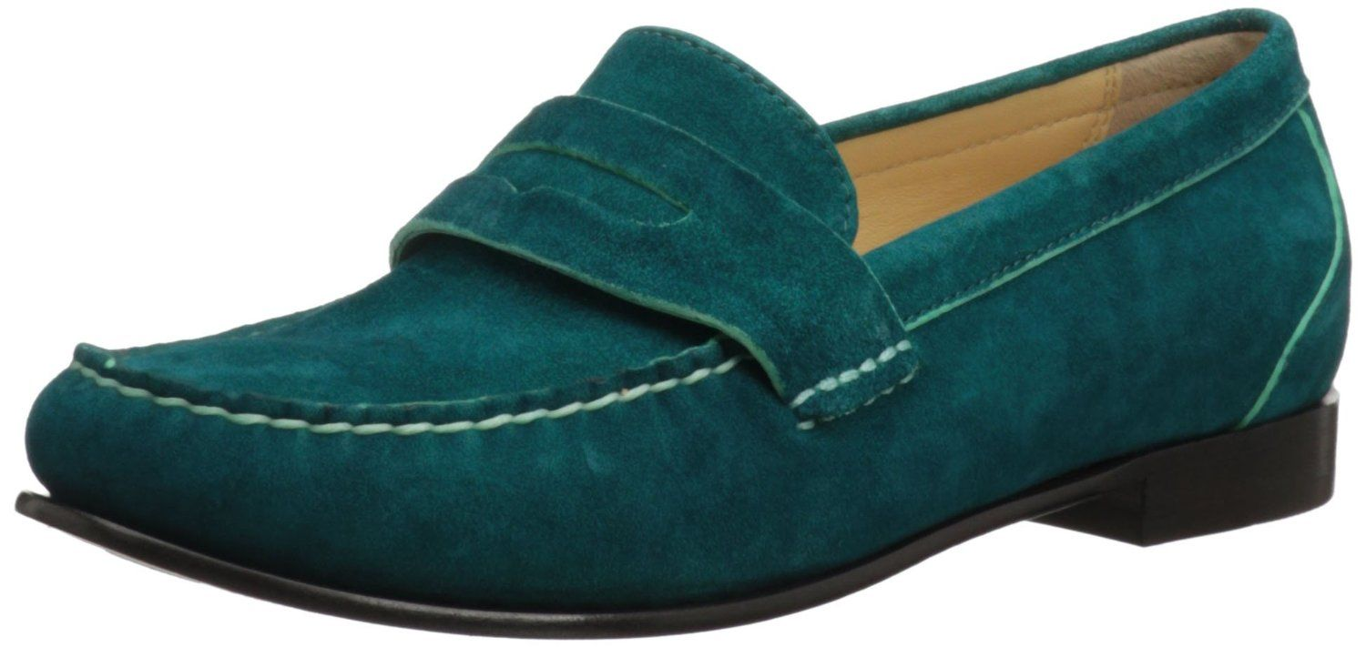 [Cole Haan Women's Monroe Penny Loafer in Teal Suede]
