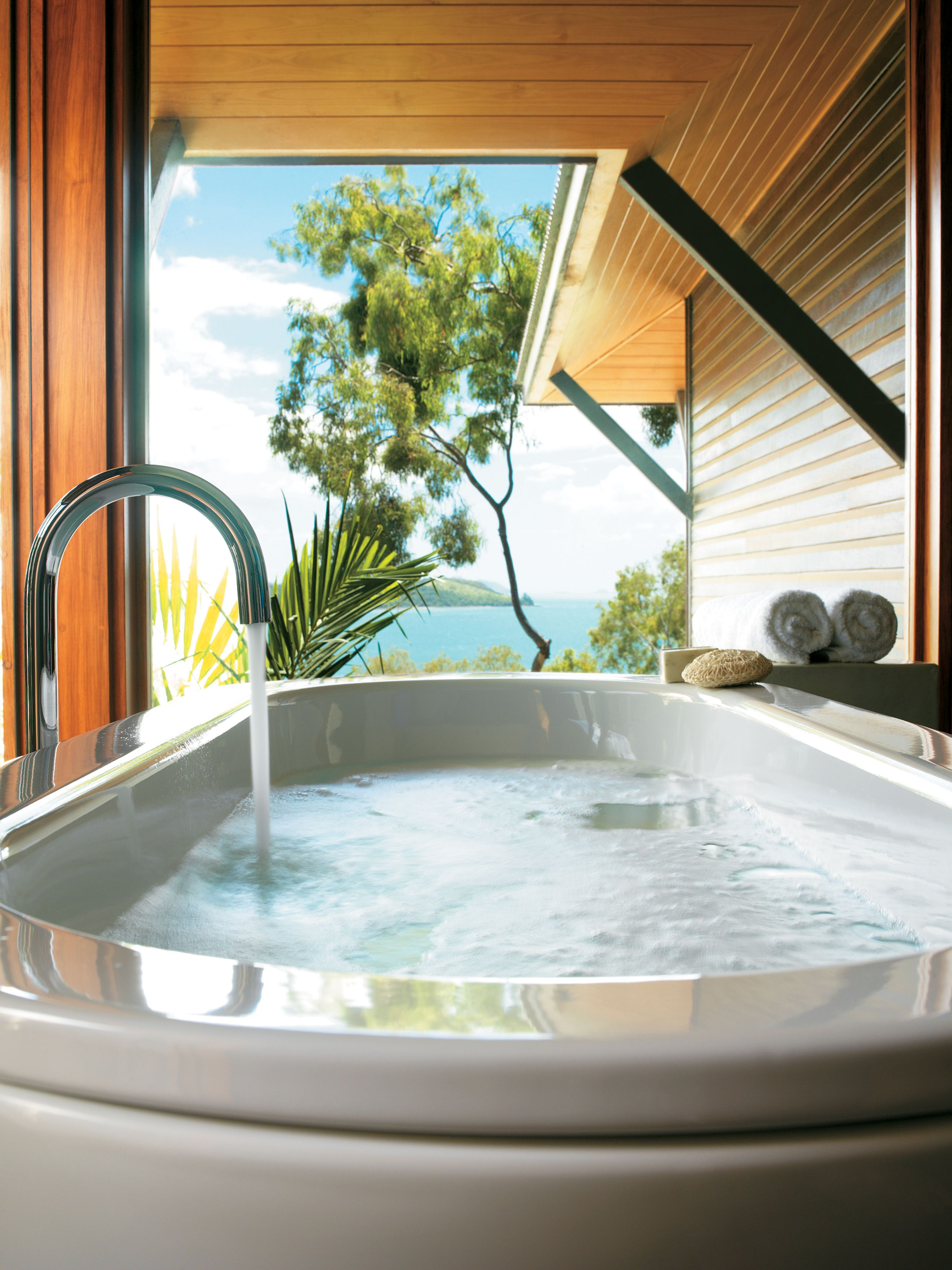 After a long day of enjoying paradise, why not soak in a luxurious bath with a view!