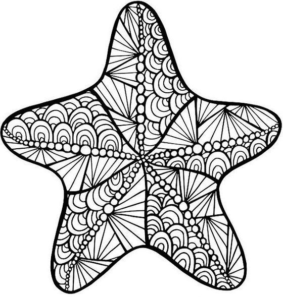 Starfish Zentangle Coloring Page Printable Ocean Coloring Pages