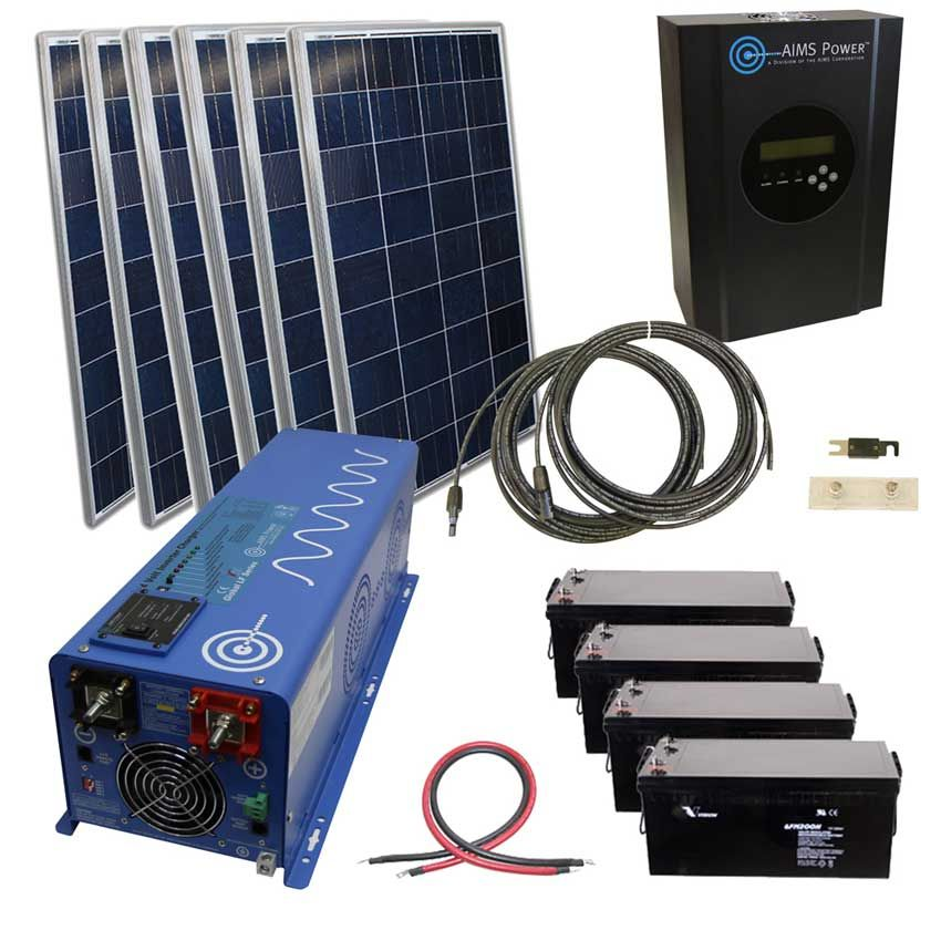 720 Watt Solar 4000 Watt Pure Sine Power Inverter Charger Kit 120 Vac Off Grid Solar Energy Panels Solar Kit Solar