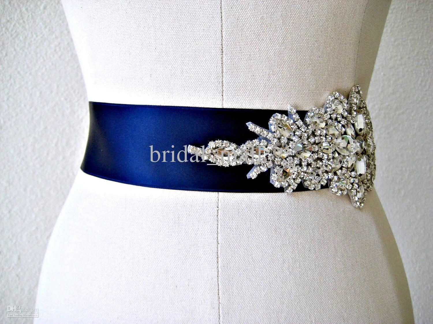 belts for wedding dresses Wholesale Bridal Sashes Belts Buy Glamourous Crystal Beadings Ribbon Royal Blue Wedding Dress Sash