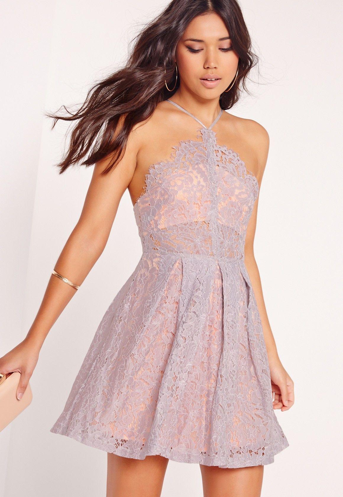 6bf7cd5d6 Missguided - Strappy Lace Skater Dress Lilac Letné Šaty, Formálne Šaty,  Krátke Šaty,