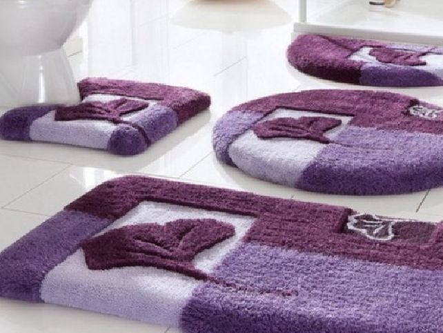 Purple Bathroom Set With Round Bath Rug Purple Bathroom Decor Purple Bathrooms Bathroom Rug Sets