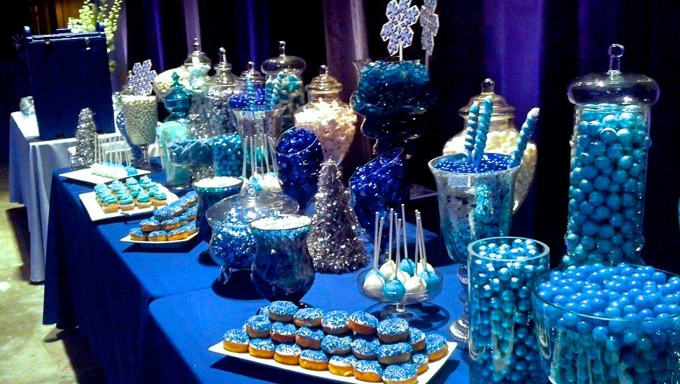 Blue Candy Bar The Tablecloth Adds To The Look Blue Candy Bars Blue Candy Buffet Blue Candy