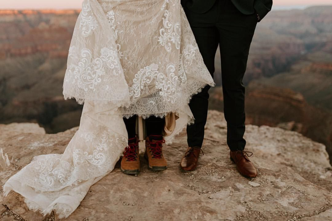 Hiking Boots High Heels This Bride Hiked Through The Grand Canyon With Boots Under Her Stunning Dress I L Bride Boots Wedding Dresses Lace Stunning Dresses