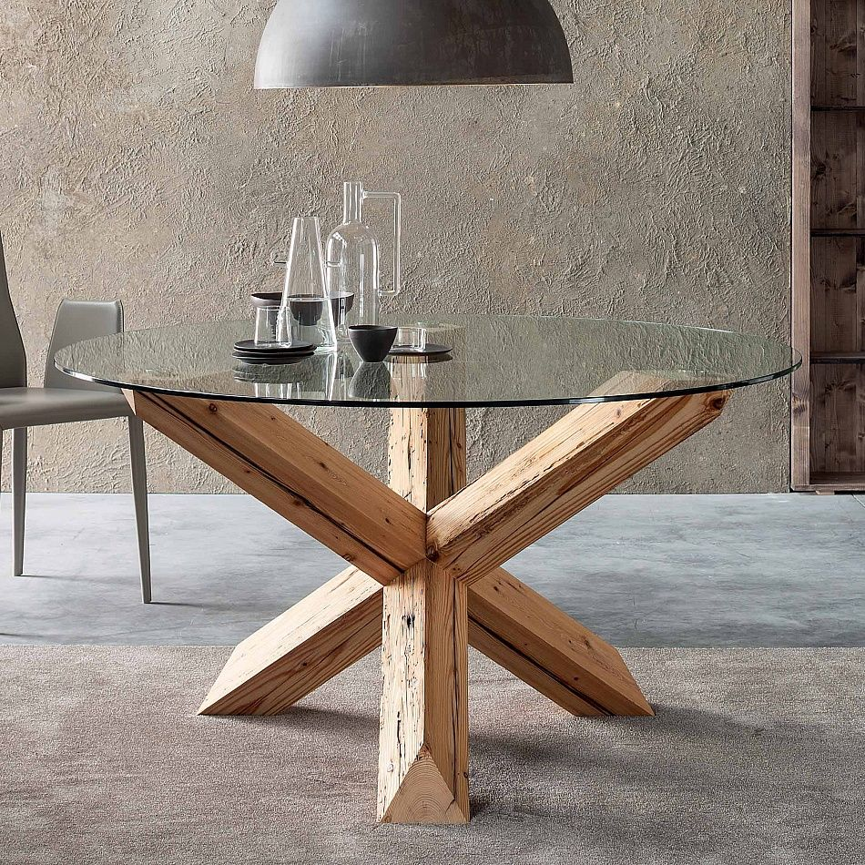 dining table travo by sedit is truly unique  it brings nature  - contemporary round wooden table with glass travo by sedit structure realnatural aged fir and stained linseed oil base transparent glass topthickness