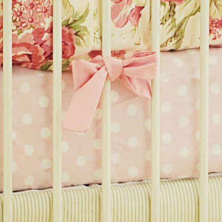 Pink Polka Dot Crib Sheet Fl Baby Bedding Nursery