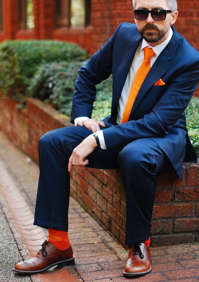 le costume bleu marine homme l gance et sobri t clothes orange suit blue suit men und. Black Bedroom Furniture Sets. Home Design Ideas