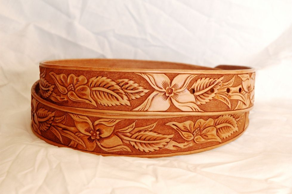 Handmade western leather belt patterns lone tree