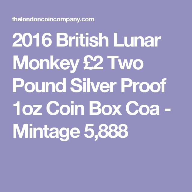 2016 British Lunar Monkey £2 Two Pound Silver Proof 1oz Coin Box Coa - Mintage 5,888