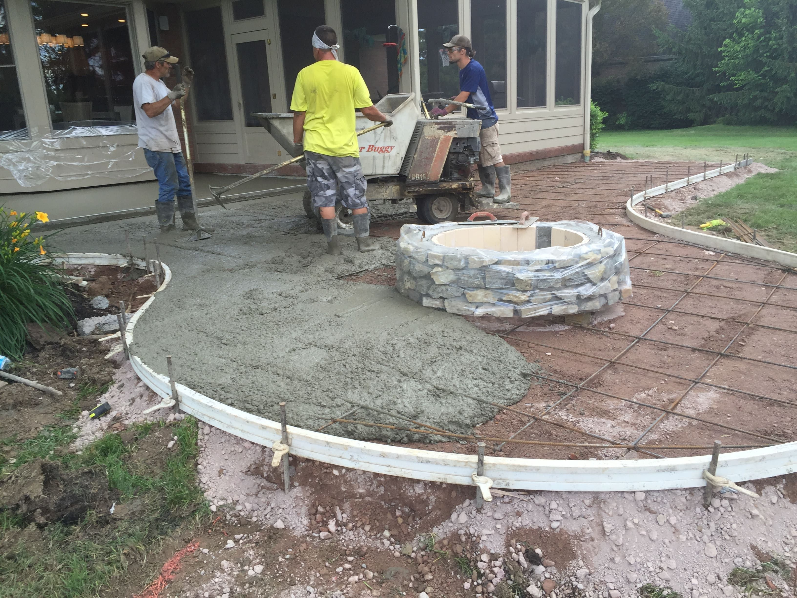 How To Pour A Stamped Concrete Patio With Fire Pit