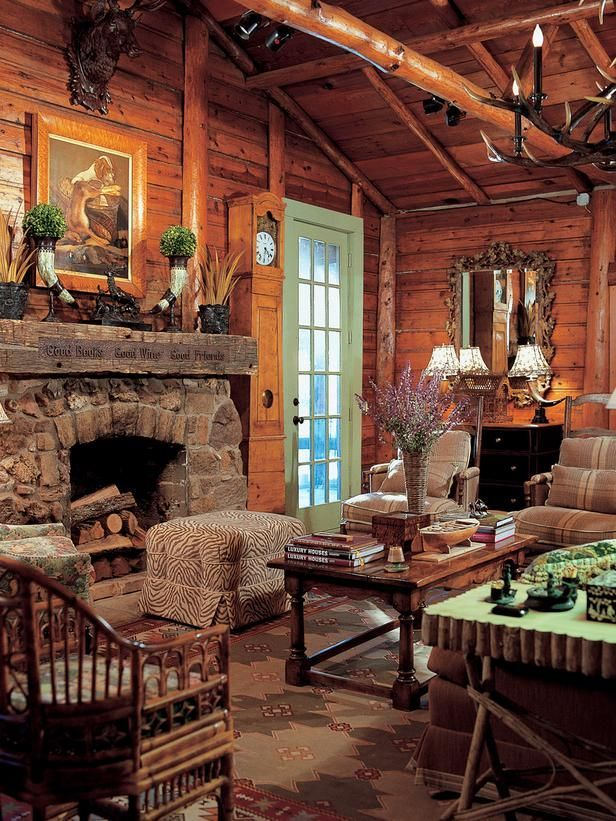 French country cabin living room decor