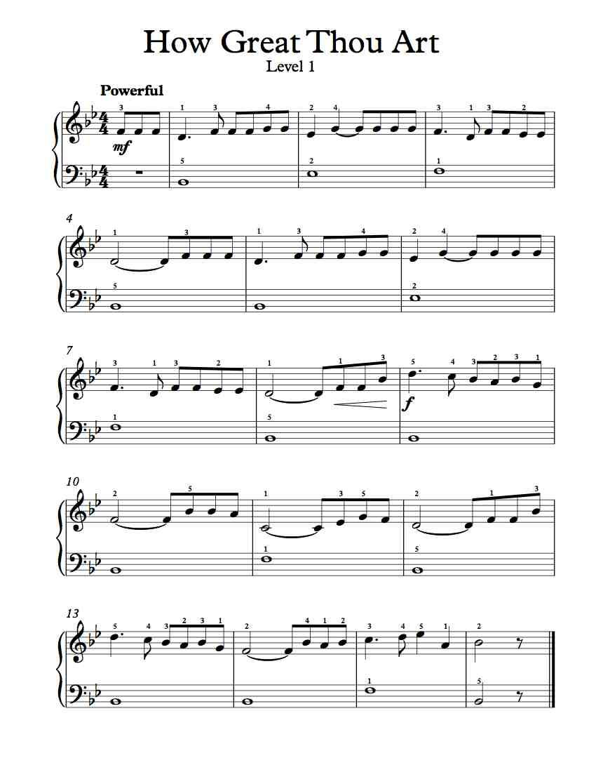 Free Piano Arrangement Sheet Music How Great Thou Art Level 1
