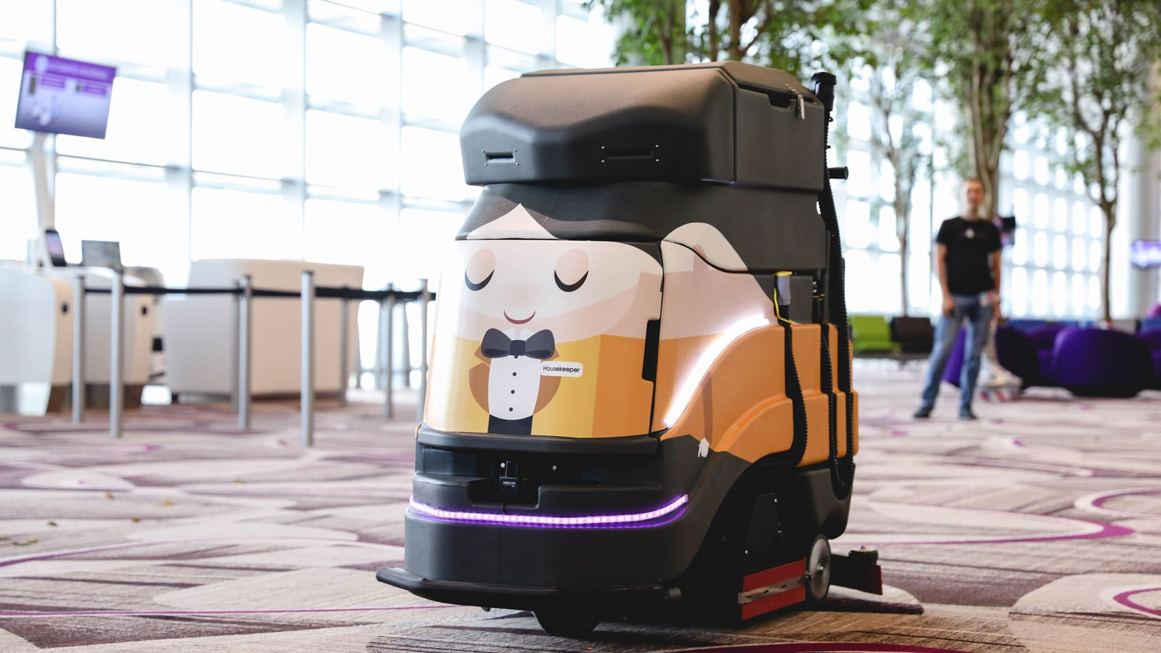 An autonomous floor-cleaning robot by Avidbots at Changi