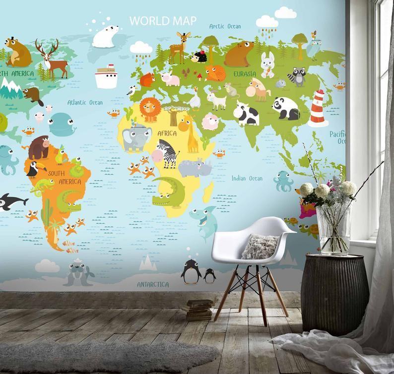 3d Kids Cartoon Animal World Map Wallpaper Nursery Etsy World Map Wallpaper Map Wall Mural Map Wallpaper