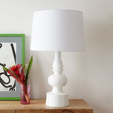 Turned Table Lamp #WestElm. Would love to re-cover shade ...